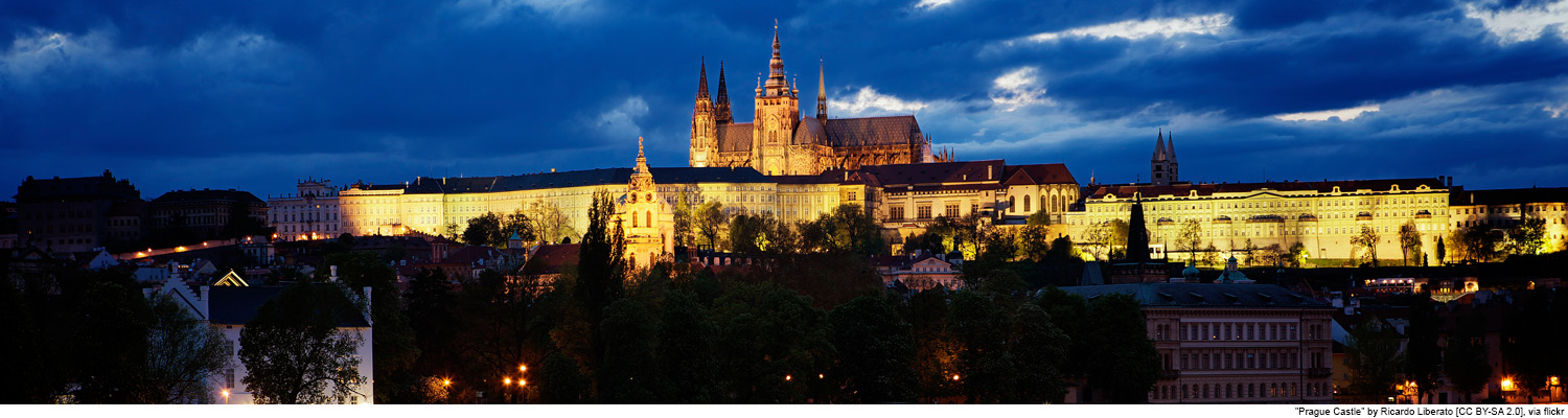 eastern europe night prague castle